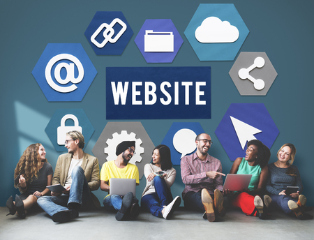 People with website icons Stock Photo