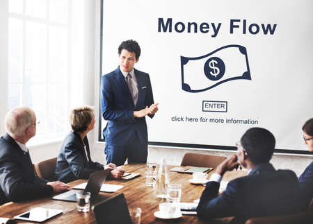 outflow: Cash Flow Business Money Financial Concept Stock Photo