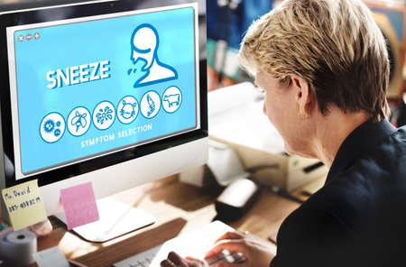 estornudo: Sneeze Allergy Disorder Sickness Healthcare Concept