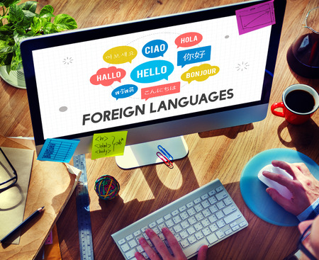 bonjour: Communication Foreign Languages Greeting Worldwide Concept Stock Photo