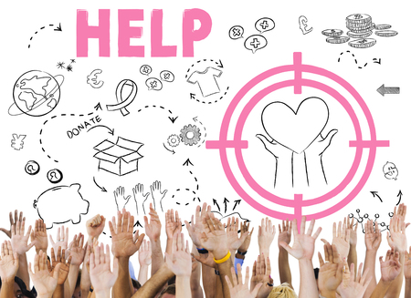 raise your hand: Donations Foundation Giving Help Welfare Charity Concept Stock Photo