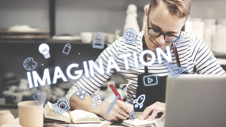 outside the box: Creativity Design Process Graphics Concept Stock Photo