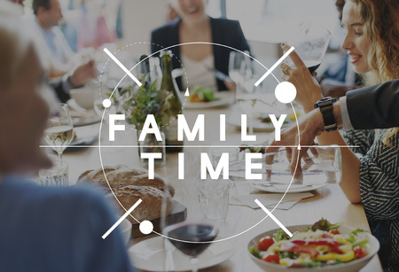 licking finger: Discussion Diner Delight Eating Family Time Concept Stock Photo