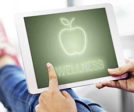 Tablet with wellness concept 写真素材