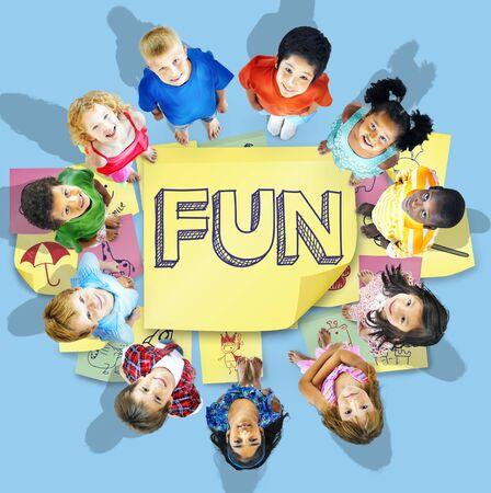 enjoyment: Children Playful Happiness Enjoyment Childhood Concept