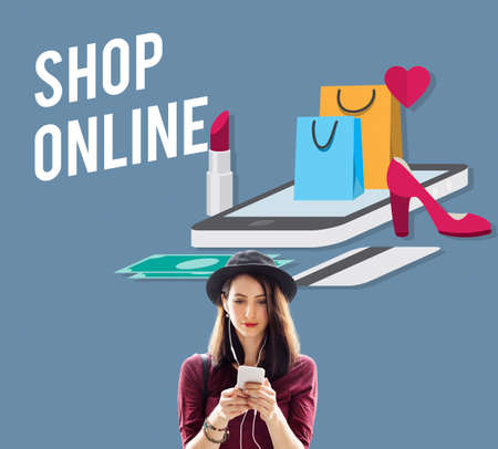 young add: Shopping Online Shopaholics E-Commerce E-Shopping Concept