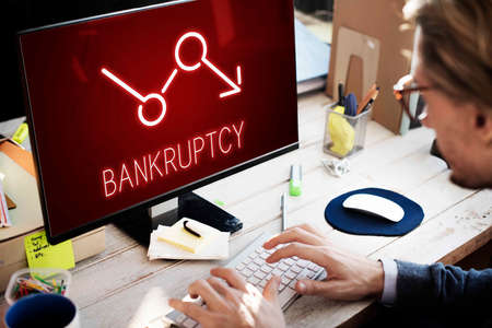 bankruptcy: Bankruptcy Critical Recession Inflation Graphic Concept Stock Photo