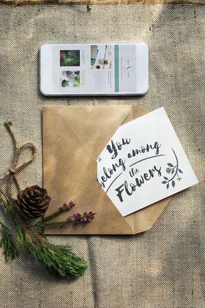 romantics: Letter Card Greeting Mobile Romantics Concept