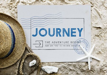 timbre voyage: Journey Adventure Poster Stamp Concept Voyage Banque d'images