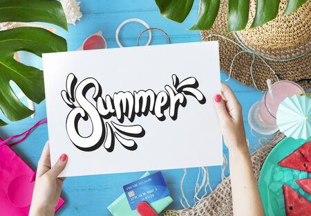 vocation: Beach Vocation Enjoy Holidays Summer Concept Stock Photo