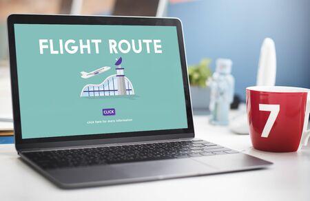 business trip: Flight Route Business Trip Flights Travel Concept Stock Photo