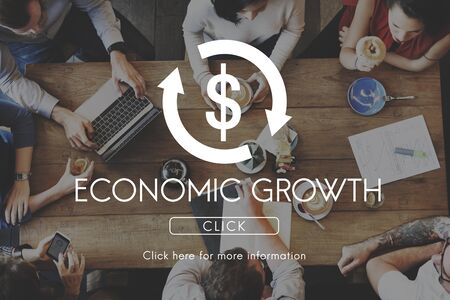 economic cycle: Economic Growth Business Cycle Financial Concept Stock Photo