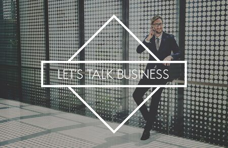 businessman waiting call: Business Dream and Success Corporate Concept