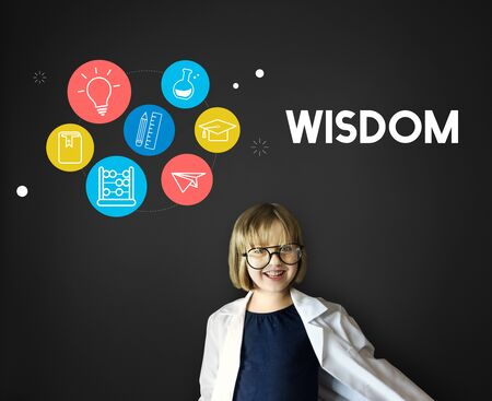 child of school age: Wisdom Learning Knowledge Class Study Concept