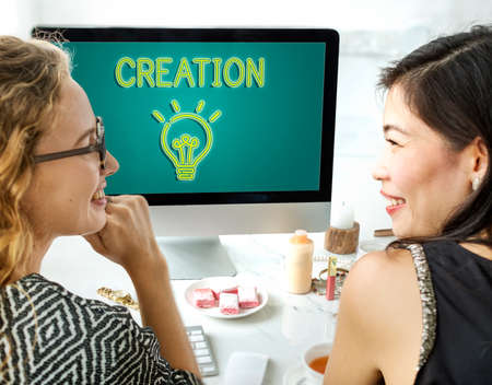 creative communication: Be Creative New Imagination Innovation Graphic Concept Stock Photo