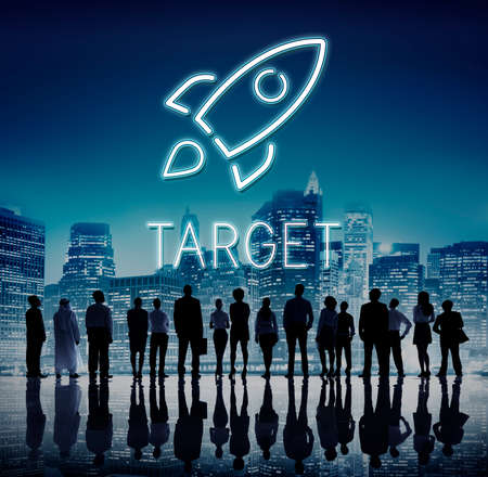 people looking up: Business Goals Rocketship Target Concept Stock Photo