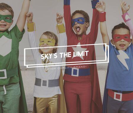 aspiration: Team Kids Heroes Aspiration Goals Concept Stock Photo