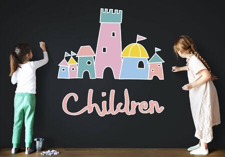 enjoy: Children Enjoy Castle Joyful Concept Stock Photo