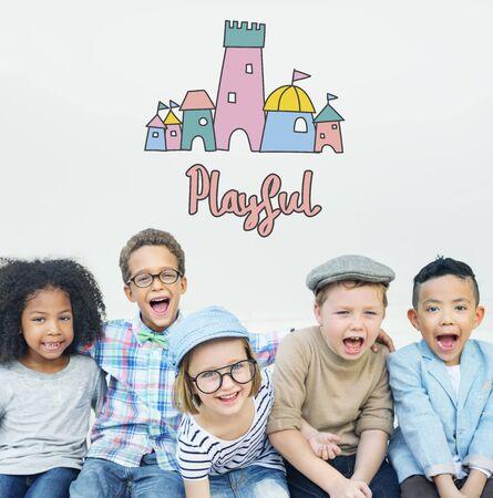 elementary age: Children Enjoy Castle Joyful Concept Stock Photo