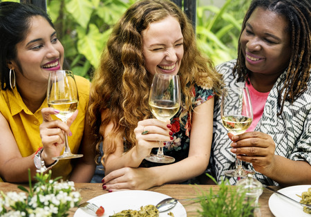 socialize: Femininity Bonding Brunch Cafe Casual Socialize Concept Stock Photo