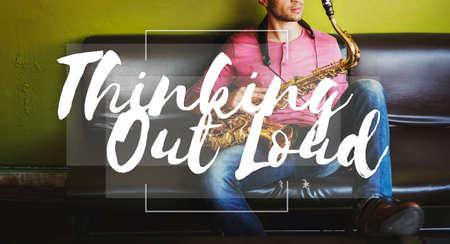 instrumentalist: Thinking Out Loud Ideas Creativity Inspiration Imagination Concept Stock Photo