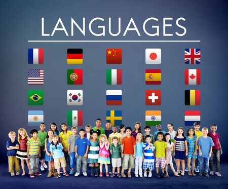international students: International Languages Flag Display Concept Stock Photo
