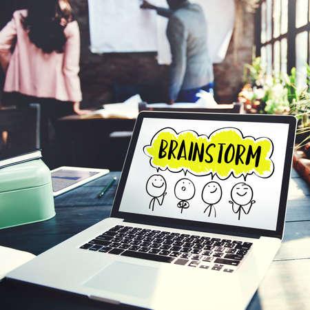 laptop outside: Brainstorm Business Work Discusssion Concept