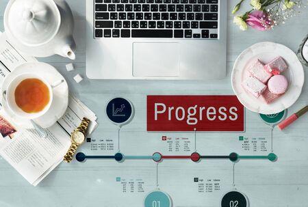 business globe: Progress Stock Figures Timeline Concept