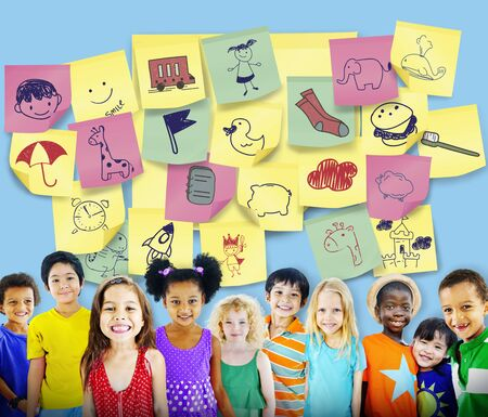 child of school age: Preschool Art Doodles Creativity Concept