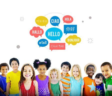 english ethnicity: Different Language Speech Bubble Hello Concept