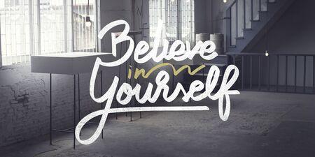 believe: Believe In Yourself Confident Encourage Motivation Concept Stock Photo