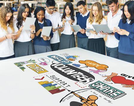 highschool: Highschool Students Technology Volunteering Concept Stock Photo