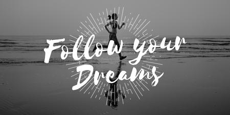 aspirations: Follow Your Dreams Aspirations Encouragement Goal Concept Stock Photo