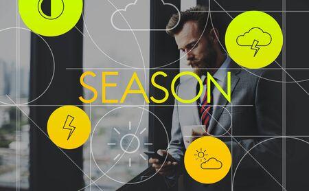 overcast: Climate Forecast Overcast Season Temperature Concept