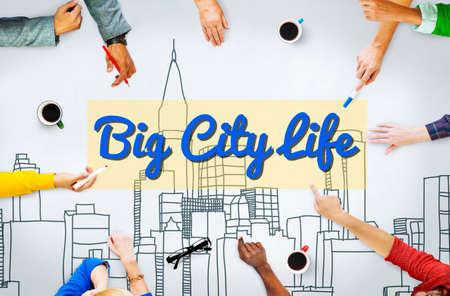 downtown district: Big City Life Downtown District Metropolis Location Concept Stock Photo