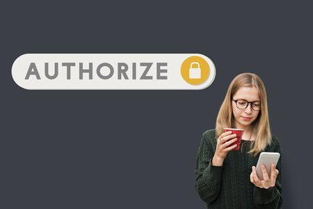 verification: Authorize Accessible Permission Verification Security Concept Stock Photo