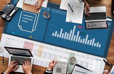 cuadro sinoptico: Analytics Marketing Research Business Data Progress Concept Foto de archivo