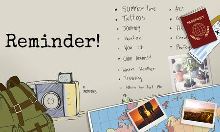 short trip: Reminder To-Do List Planner Information Concept