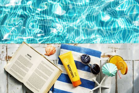 recess: Sunscreen Sunglasses Towel Book Recess Relax Concept