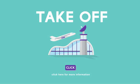 airplane take off: Take Off Business Trip Flights Travel Concept