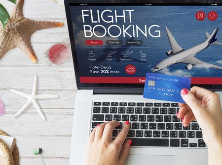 航空チケットのフライト予約コンセプト 写真素材