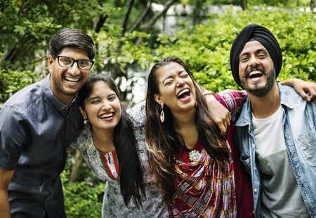 Indian Friends Hangout Outdoors Happy Concept
