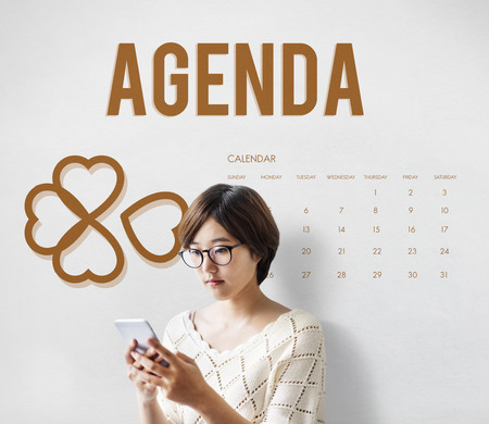 Woman with agenda concept
