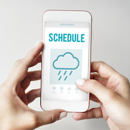 estimation: Schedule Forecast Weather Rainy Cloud Concept Stock Photo