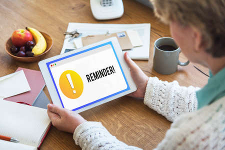 exclamation point: Reminder Notification Alert Exclamation Point Concept Stock Photo