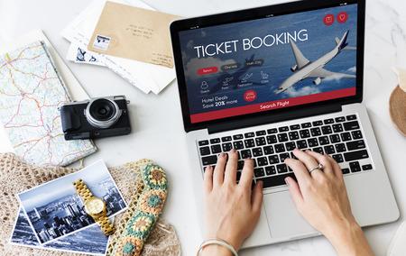 Air Ticket Flight Booking Concept Imagens