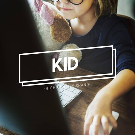 geeky: Little Girl Learn Online Geeky Concept Stock Photo