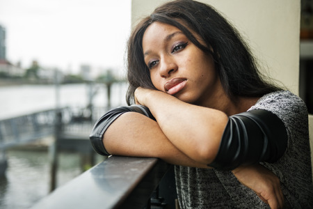 African American Depressive Sad Broken Heart Concept Stock Photo