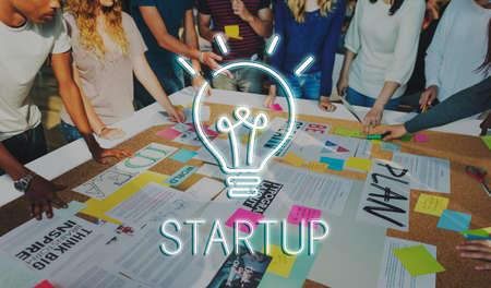 casual business team: Startup Lightbulb Ideas Creativity Concept Stock Photo
