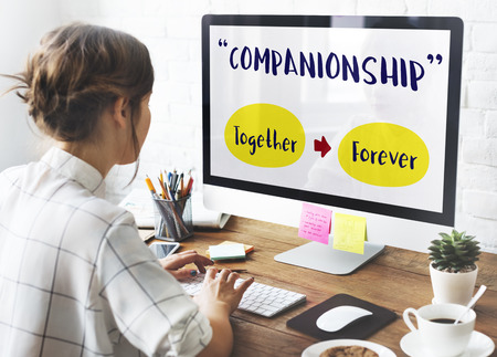companionship: Girl Computer Positivity companionship Concept Stock Photo